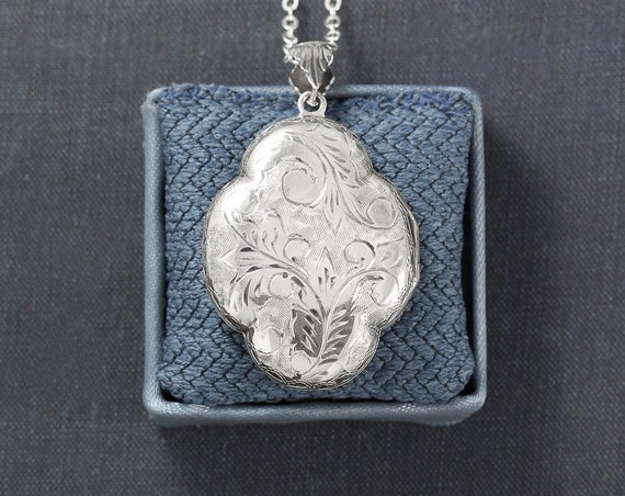 Sterling Silver Locket Necklace, Large Vintage Rare Soft Rounded Scalloped Shaped Photo Pendant - Clover