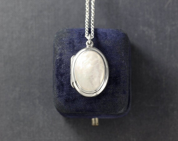 Mother of Pearl Cabochon Sterling Silver Locket Necklace, Small Oval Pendant - White as Snow