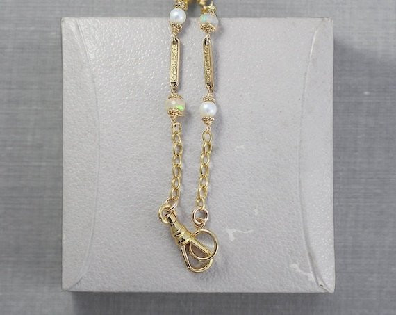 Antique Gold Filled Guard Chain with Opal & Freshwater Pearl Accents, Long 30 Inch Necklace with Swivel Clasp - Golden