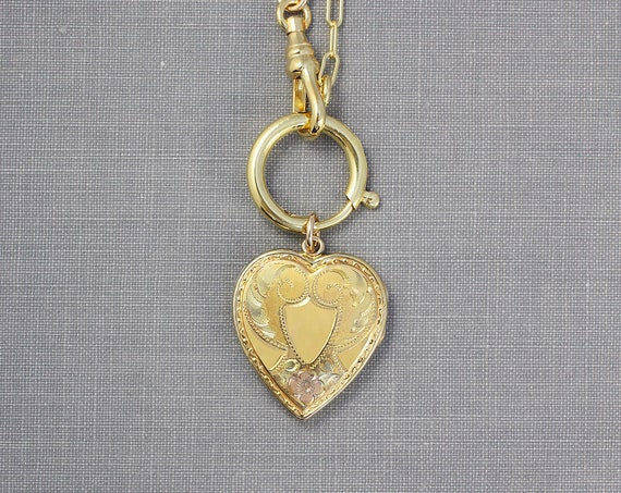 Gold Heart Locket Necklace on Special Guard Style Chain, Vintage 12K Gold Filled Photo Pendant - I Will Always Love You