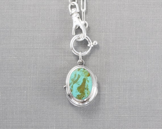 Turquoise Sterling Silver Locket Necklace, Stone Cabochon Vintage Photo Pendant on Paperclip Chain Lobster Swivel Clasp - American Heritage