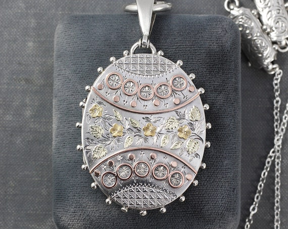 1881 Antique Victorian Sterling Silver Locket Necklace, Large Aesthetic Movement Oval Photo Pendant with Book Chain Accents - Yellow Roses