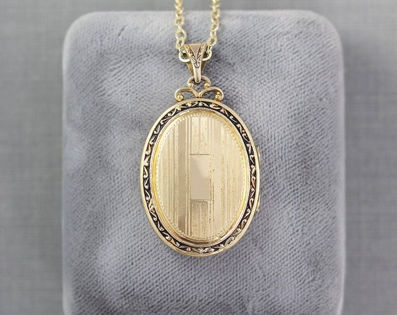 Gold Filled Oval Locket Necklace, Art Deco Vintage Pinstripe Photo Pendant - Vintage Vogue