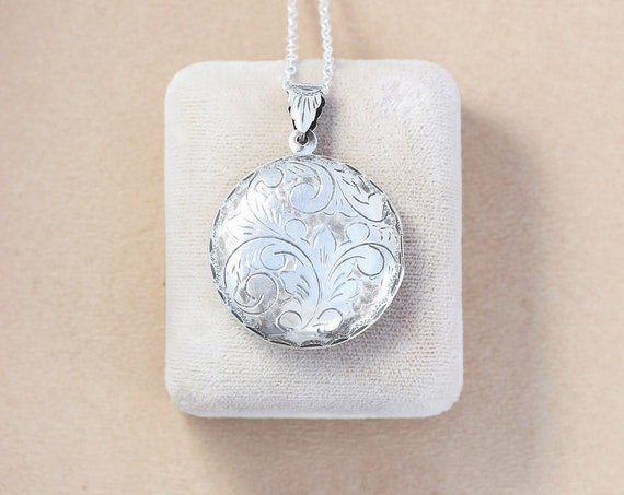 Sterling Silver Locket Necklace, Large Round Vintage Photo Pendant - Timeless Gift