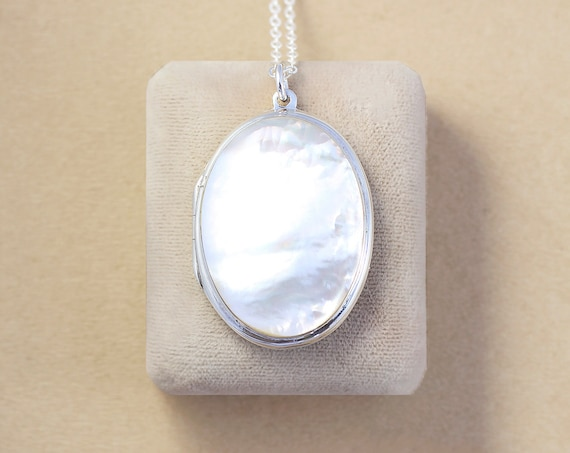 Large Mother of Pearl Cabochon Sterling Silver Locket Necklace, Rare MOP Oval Pendant - White as Snow