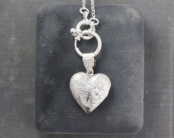 Sterling Silver Heart Locket and Guard Chain Necklace, Special Interlocking Clasps and Vintage Photo Pendant - Unique