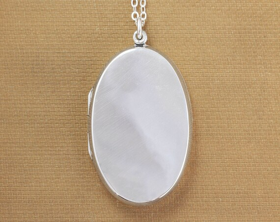 Large Contemporary Sterling Silver Locket Necklace, Plain Elongated Oval on Long Chain - The Perfect Accessory