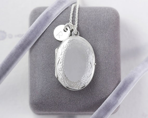 Vintage Sterling Silver Locket Necklace, Oval Pendant with Hand Stamped Initial Charm - Subtly Framed