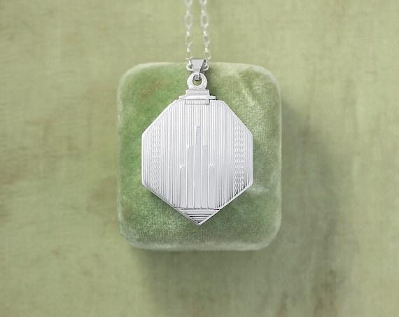 Vintage Sterling Silver Locket Necklace, Genuine Art Deco 1920's 1930's Octagonal Geometric Photo Pendant - Architectural