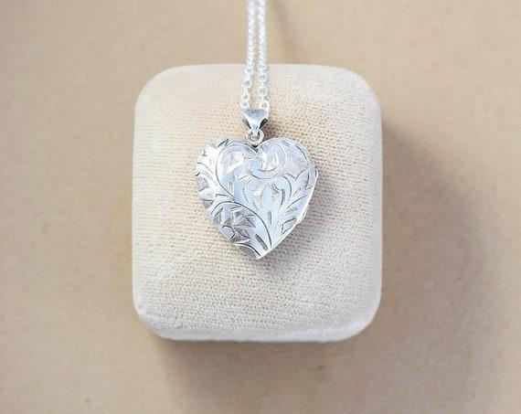 Vintage Sterling Silver Heart Locket Necklace, Deep Hand Chased Leafy Vine Engraved Photo Pendant - Sparkling Laurel