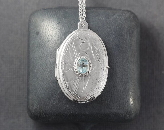 Blue Topaz Sterling Silver Locket Necklace, Large Oval Keepsake Photo Pendant - Jeweled