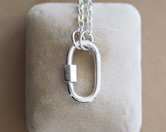 Sterling Silver Carabiner Paperclip Chain Necklace, Large Lock for Charms Special Link Chain - Embellishment