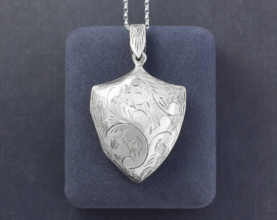 Sterling Silver Shield Locket Necklace, Acanthus Leaf Engraved Double Side Photo Pendant - Coat of Arms