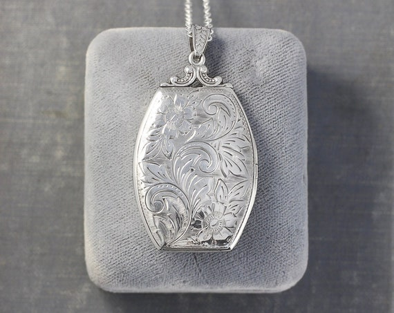Rare 1940's Sterling Silver Locket Necklace, Vintage Floral Hand Engraved Large Photo Pendant with Original Bail - Floral Dreams