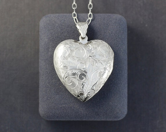 Vintage Sterling Silver Heart Locket Necklace, Double Sided Photo Pendant on Long Mini Paperclip Chain - Heart of Love