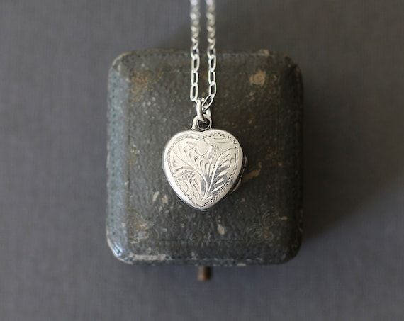 Tiny Sterling Silver Heart Locket Charm Necklace, On 18 Inch Drawn Cable Chain - Be Mine