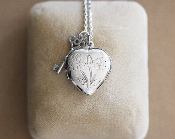 Silver Heart & Key Locket Necklace, Sterling Silver Vintage Photo Pendant - Key to My Heart