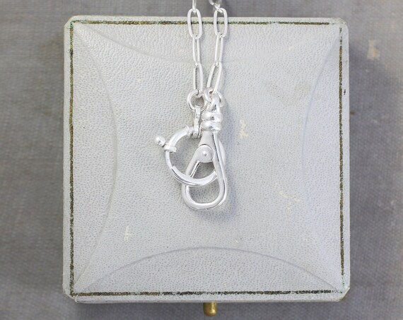 Sterling Silver Interlocking Clasp Necklace, Special Guard Chain Inspired Paperclip Chain Interchangeable Charms and Pendants - Together