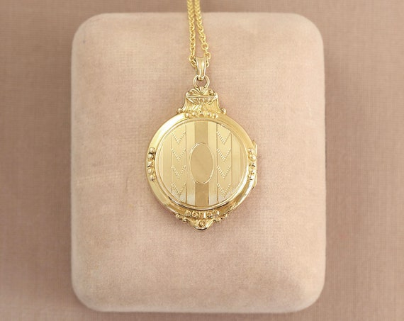 RESERVED Layaway Round Gold Filled Locket Necklace, Hayward Photo Picture Pendant with Fancy Top - Vintage Chevron
