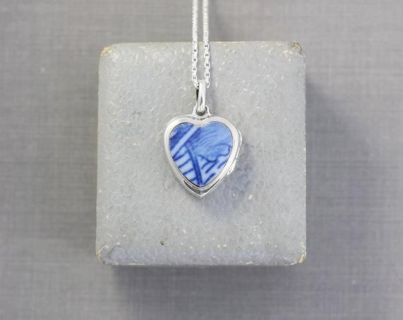 Blue & White Sterling Silver Heart Locket Necklace, Unique Pottery Vintage Pendant - Sweet Blue Heart