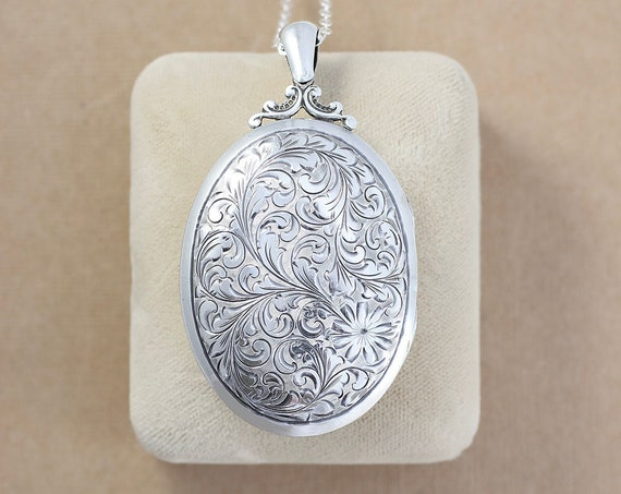 Large Oval Sterling Silver Locket Necklace, Rare Ornately Hand Engraved Floral Photo Pendant - Gorgeous Vines