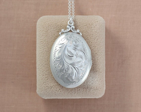 Sterling Silver Locket Necklace, Timeless Oval Vintage Photo Pendant - Two Halves Make a Whole