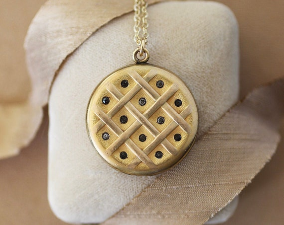 Antique Gold Locket Necklace, W&H Co Round Edwardian Stone Set Photo Pendant - To Grow Dearer With Time