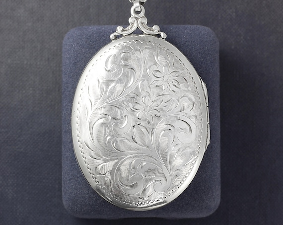 Large Oval Sterling Silver Locket Necklace, Vintage Floral Engraved Picture Pendant - A Piece to Love