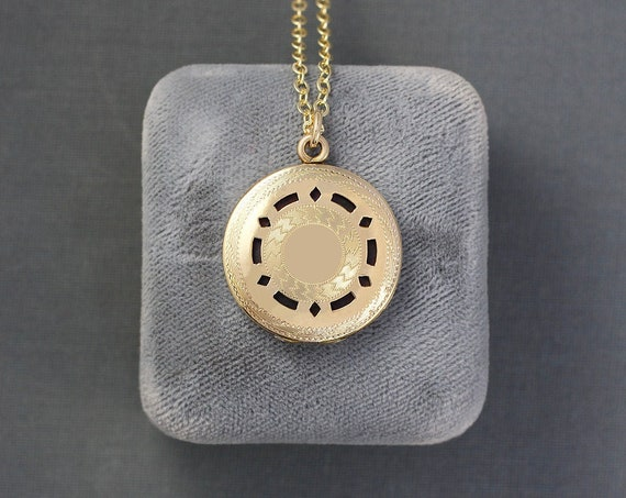 Antique Rare Gold Filled Diffuser Locket Necklace, Interchangeable Interior - Breath of Fresh Air