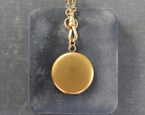 Antique Gold Filled Locket Necklace, Plain Round Photo Pendant on Long Opal and Vintage Bar Link Swivel Watch Fob Clasp Chain - Golden