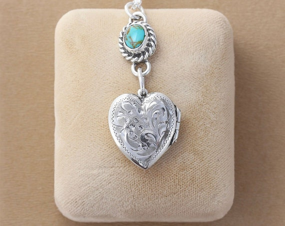Sterling Silver and Turquoise Heart Locket Necklace, Vintage Photo Pendant with Turquoise Cabochon - Yours Forever