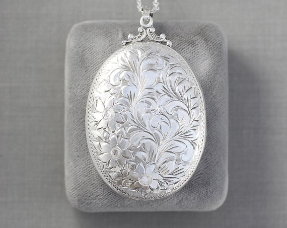 Extra Large Sterling Silver Birks Locket Necklace, Gorgeous Circa 1940's Oval Photo Pendant - Nostalgic Beauty