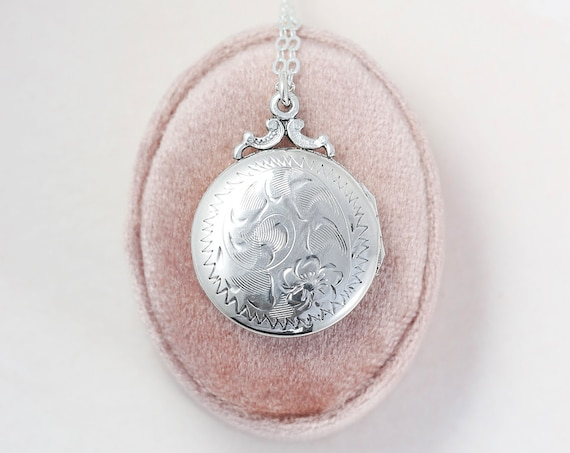 Sterling Silver Locket Necklace, Small Round Vintage Photo Pendant - Celebrating Love
