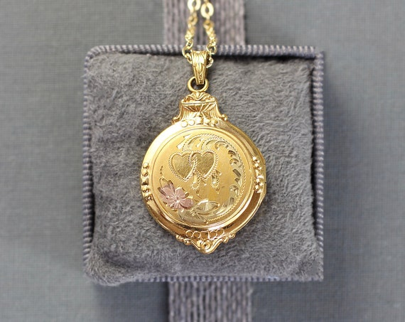 Gold Filled Locket Necklace, Vintage Hayward Picture Pendant - Double Hearts