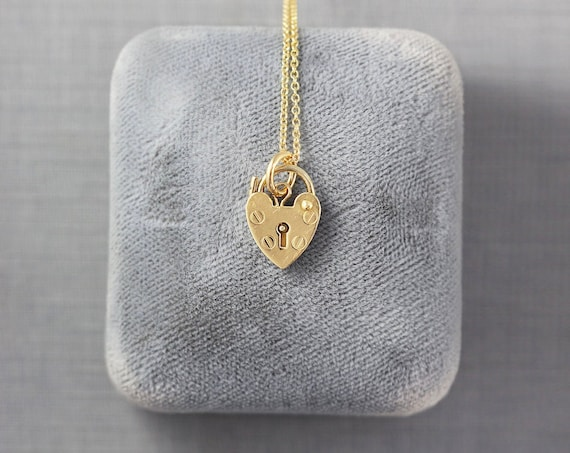 Tiny 9ct Gold Heart Padlock Necklace, Vintage 9k United Kingdom Yellow 9 Karat Gold - Lock of Love