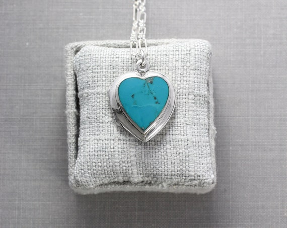 Sterling Silver Turquoise Heart Locket Necklace, Rare Bright Turquoise Cabochon Pendant for Photos - Love