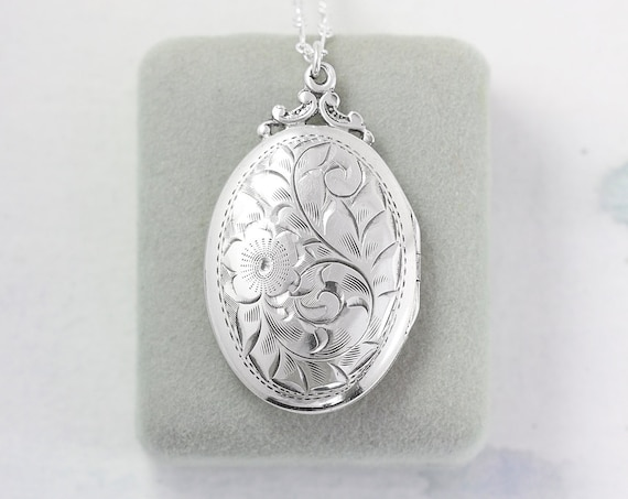 Birks Sterling Silver Locket Necklace, Classic Oval Vintage Photo Pendant - Cherishing Family