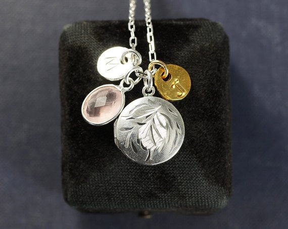 Vintage Sterling Silver Locket Charm Necklace, Small Round Photo Pendant with Rose Quartz and 2 Initial Charms - Made for Two