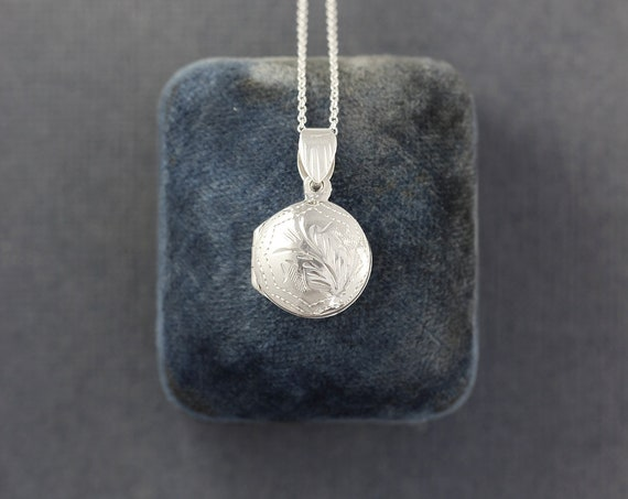 Teeny Tiny Round Sterling Silver Locket Necklace, Simple Photo Charm Opens - Mini Memento
