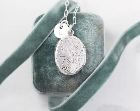 Oval Sterling Silver Locket Necklace, Small Oval Flat Photo Pendant w/ Hand Stamped Initial Charm - Grandma's Jewelry Box