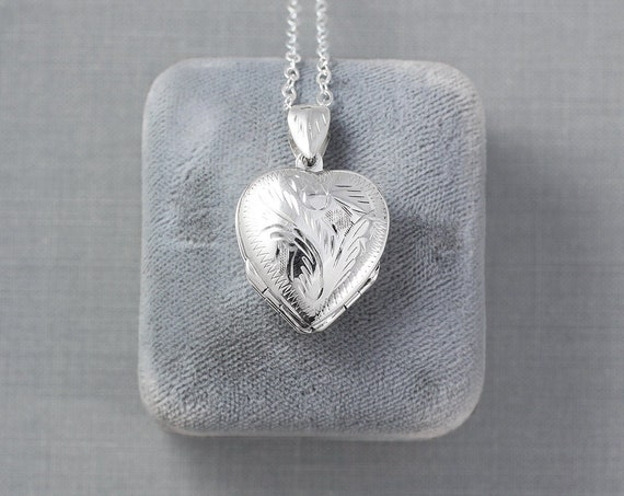 Small Four Photo Heart Sterling Silver Locket Necklace, Multi Picture Pendant - Family of Four