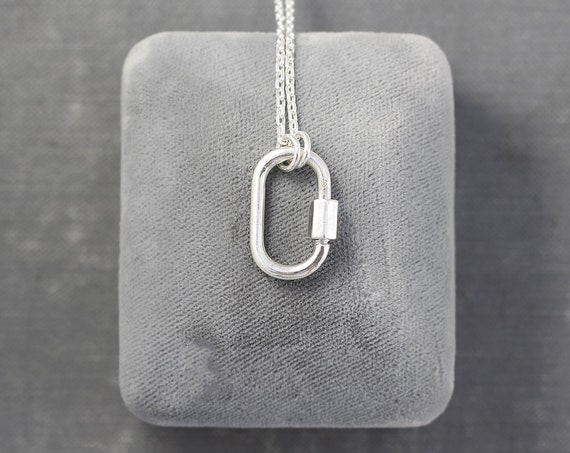 Small Sterling Silver Carabiner Necklace, Lock for Charms Diamond Cut Cable 15 1/2 Inch Chain - Perfectly Simple