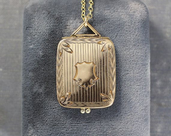 Antique Gold Filled Locket Necklace, Rare Book Shaped Pendant - Elaborate Aesthetic