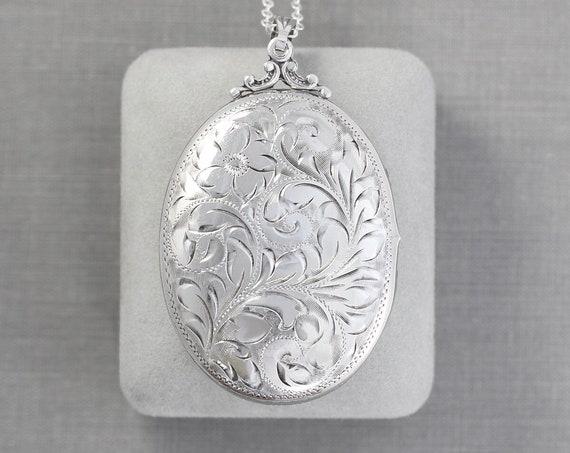 Extra Large Sterling Silver Locket Necklace, Gorgeous Circa 1940's Oval Photo Pendant - Nostalgic Beauty