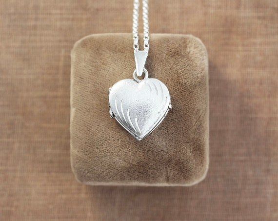Small Sterling Silver Heart Locket Necklace, Vintage Photo Pendant with Subtle Engraving and Brushed Matte Finish - Sparkle