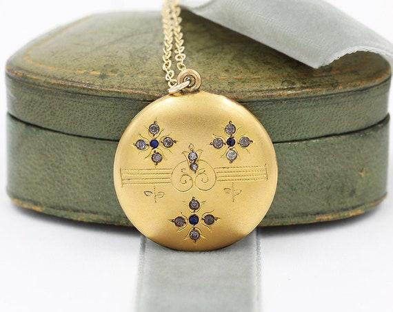 Antique Gold Locket Necklace, Wightman & Hough Co Round Edwardian Stone Set Photo Pendant - Sparkling Brilliants