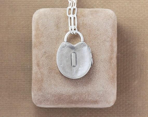 Antique 1884 Sterling Silver Padlock Heart Locket Necklace, Rare Photo Pendant - Lock of Love