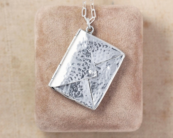 Antique Sterling Silver Hammered Envelope Necklace, 1904 Stamp Case Hallmarked Locket Pendant with Paperclip Chain - To You