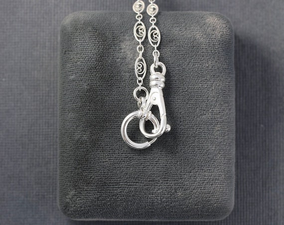 Sterling Silver Guard Style Filigree Chain Necklace, Oversized Spring Ring and Swivel Clasps on Fancy Link Chain - Victorian Beauty
