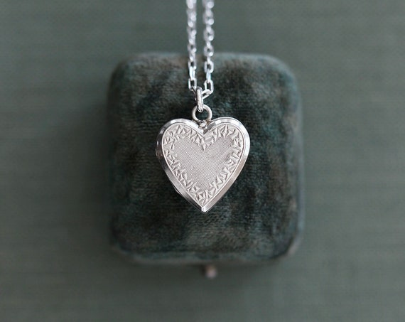 Small Sterling Silver Heart Locket Necklace, Vintage Photo Pendant - Sparkle